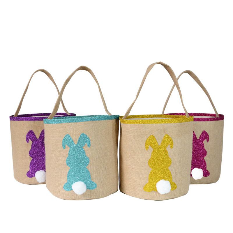 HAPPY EASTER Basket Party-Supplies Carry-Candy-Bag Canvas Gift Home-Decoration Holiday title=