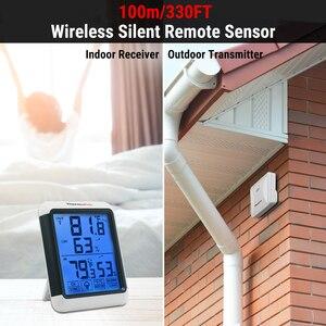Image 2 - Thermopro tp65a 100m higrômetro digital sem fio ao ar livre temperatura umidade monitor de luz preta tela sensível ao toque estação meteorológica