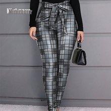 2021 модные элегантные женские брюки в клетку Дизайнерские повседневные