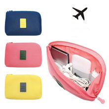 New Make Up Bag Organizer Travel Storage Bag for Digital Data Cable Charger Headphone Portable Mesh Sponge Bag Holder(China)