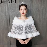 JaneVini Bolero Spitze Ivory Fur Bruids Cape Lace Shawl Winter Wedding Dress Jacket Beaded Pin Adult Faux Fur Bridal Wraps Capes