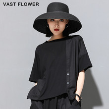 Women Black Irregular Button Patchwork Plus Size T-Shirt 2021 Summer New O-Neck Short Sleeve Loose Casual Tshirt Fashion Clothes