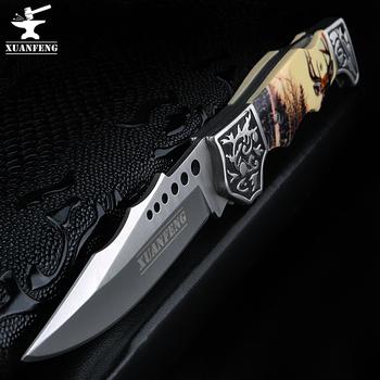 XAUN FENG przenośny składane nóż B3159 wysokiej intensywności camping samoobrony nóż survivalowy nóż do obrony tanie i dobre opinie XUAN FENG Obróbka metali RUBBER Tytanu Składany nóż