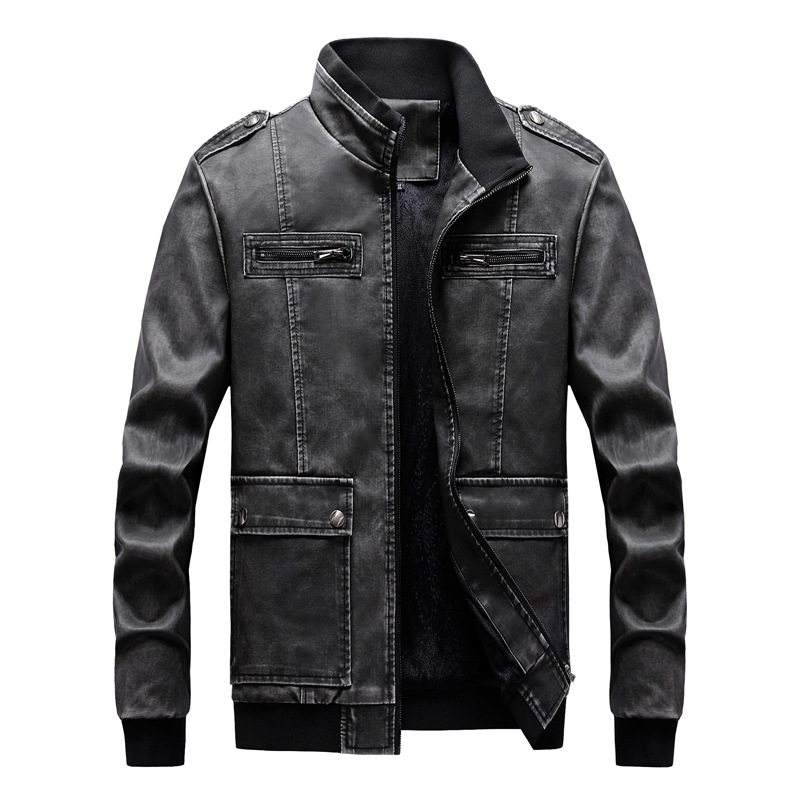 Mens Jackets 2020 New Arrivals Men's Autumn Winter Warm Motorcycle Jacket Coat Men Casual Stand Fleece Jacket Outerwear Male 6XL