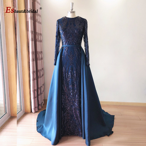Image 4 - Elegant Evening Dress 2020 Muslim Long Sleeves Mermaid with Detachable Train Sequin One Shoulder Prom Party Gowns
