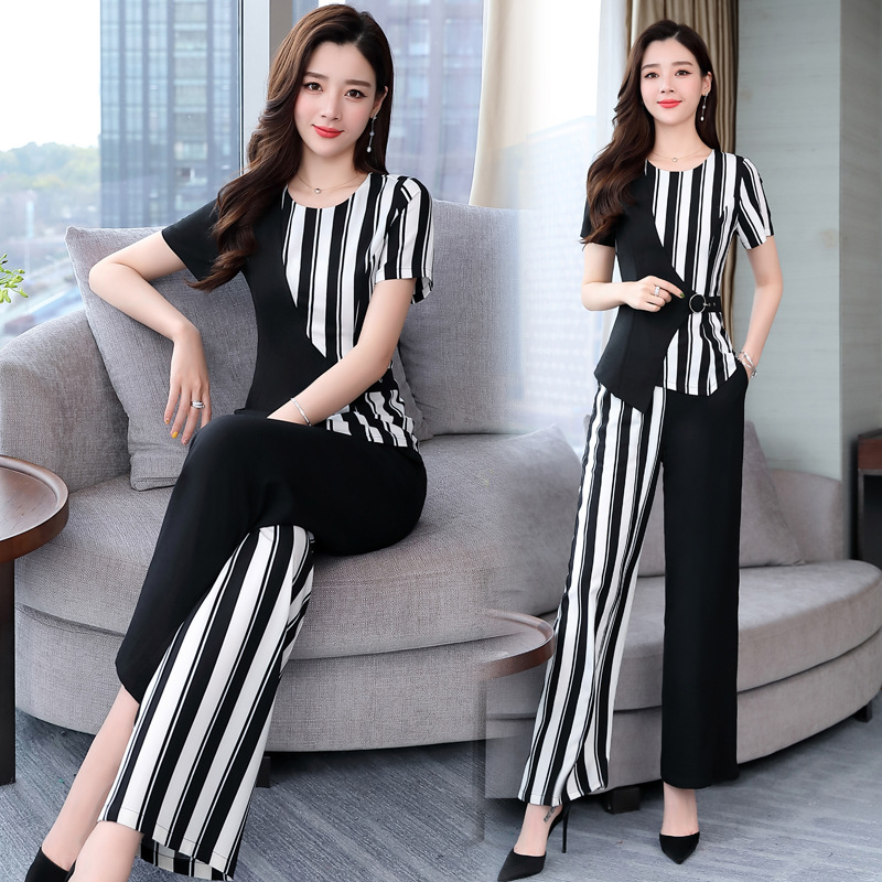 Casual Two-Piece Set Large Size Dress Western Style Sports Catty Spring Summer Influx Fat Mm Fashion Short Sleeve T-shirt