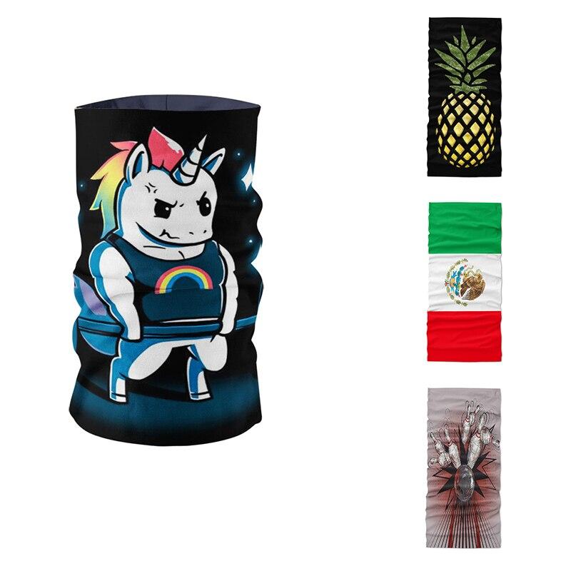 Unisex DIY Printed Ring Scarf Funny Unicorn Bowling Pineapple Pattern Magic Sports Biker Headdress Wrist Microfiber Bandana