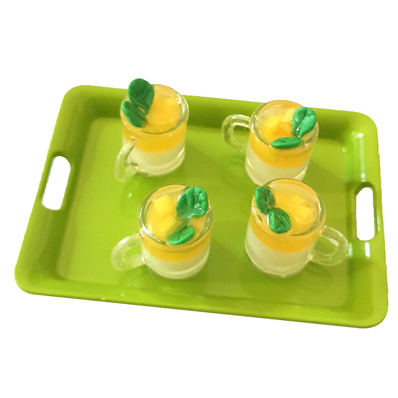 1Pcs 1/12 Dollhouse Miniature Accessories Mini Mango Pudding Cup Simulation Food Model Toys For Doll House Decoration