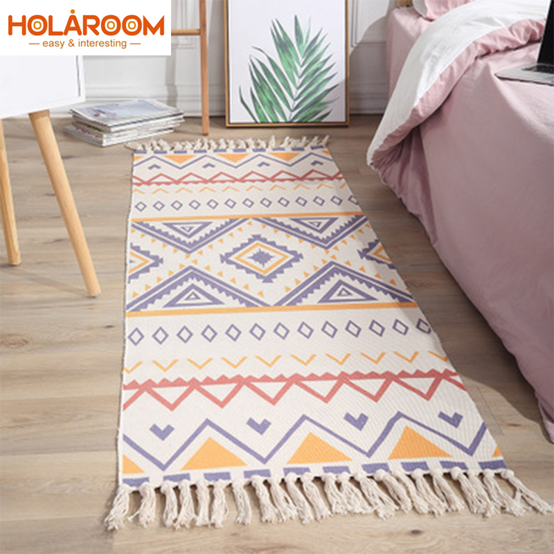 Boho Home Decorative Cotton Linen Hand Woven Rugs Mandala Geometric Floor Mat Bedroom Living Room Carpet With Tassels Home Decor