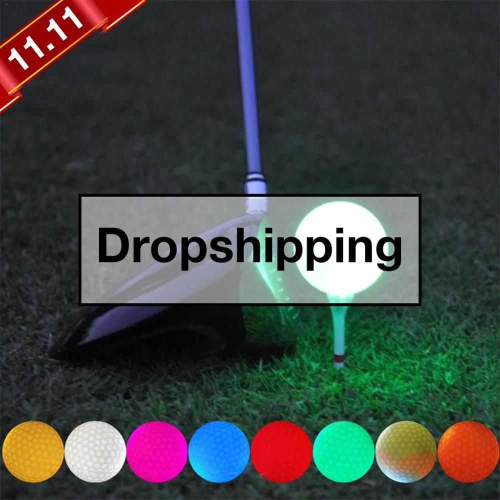 1pcs Luminous LED Golf Ball Light-up Flashing Night Light Glowing Fluorescence Golf Balls Golfing Practice Balls