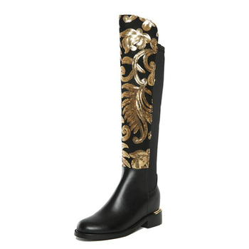 2019 Autumn Winter Women Embroidered Gold Lace Elastic Boots Genuine Leather Over-the-knee Low Heel Casual Sexy Long Booties