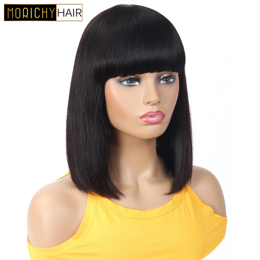 Morichy Human Hair Short Wigs With Bangs Short Cut Bob Straight Wigs Brazilian Non-Remy Hair Wigs For Women Natural Black Color