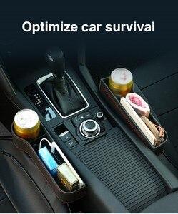Image 1 - Caja de almacenamiento organizador de coche para espacio de asiento PU Case bolsillo hendidura lateral de coche para billetera teléfono monedas llaves de cigarrillos, soporte para tarjetas Universal