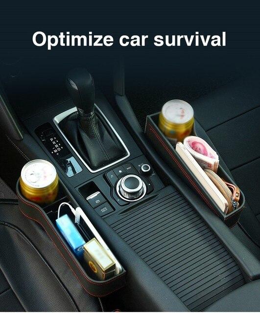 Caja de almacenamiento organizador de coche para espacio de asiento PU Case bolsillo hendidura lateral de coche para billetera teléfono monedas llaves de cigarrillos, soporte para tarjetas Universal