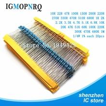 600pcs/комплект 30 видов 1/4 Вт сопротивление 1% металла фильм резистор ассорти комплект пакет 1К 10К 100к 1М 220ohm резисторы 300 шт/комплект