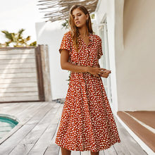 WANYUCL fashion women's 2021 summer polka dot high waist printed short-sleeved dress shirt collar skirt female