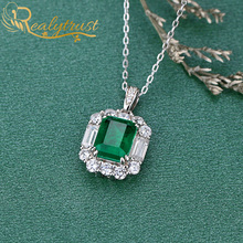 Realytrust 7*9mm Luxury Colombia Emerald Pendant Necklace for Women Solid 925 Sterling Silver Charm Pendant Wedding Party Gift