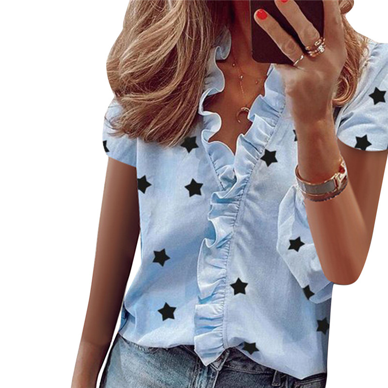 Summer Ruffle Stars Letter Print Tops and Blouse for Women Elegant Leisure Top 2020 New Women Sexy V Neck Short Sleeve Blusas