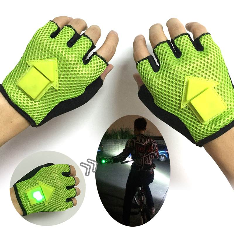 Gravitation Sensor Turn Signal Half Finger Bike Gloves Portable LED Light Automatic Induction Warning For Cycling Running