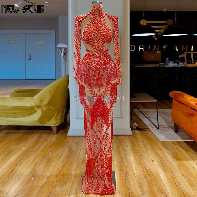 Saudi Arabia Long Red Pageant Prom Dresses Mermaid Robe De Soiree 2020 New African Evening Dress Kaftans Middle East Party Gowns