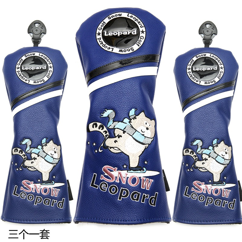 Snow Leopard Golf Driver Headcovers Sporting Goods PU Leather Golf Fairway Hybrids Woods Covers Free Shipping