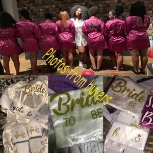 Image 4 - Sisbigdey Personalized writing Bride Robe women custom name wedding date Peignoir bridesmaid best gift bridal pink bridal robes