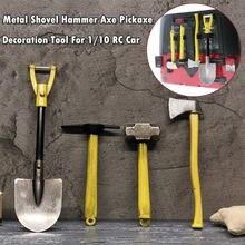 Acessórios do carro de controle remoto metal pá martelo machado picareta ferramenta decoração kit para scx10 TRX-4 d90 rc carro 1.10