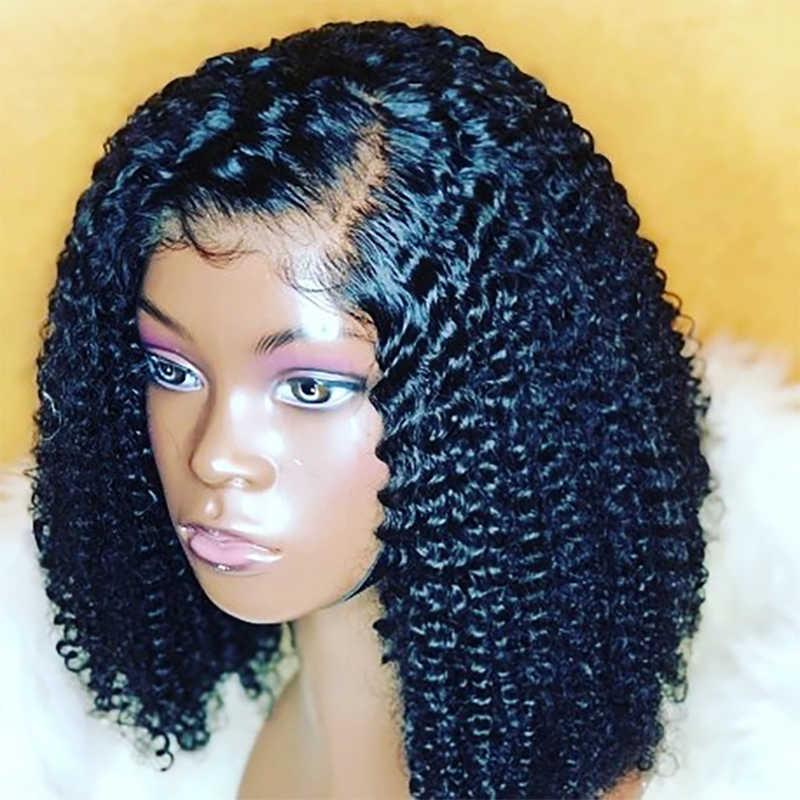 Rosabeauty Brasilianische Lockige Spitze Front Menschliches Haar Perücken Tiefe Wasser Welle Kurze Afro Verworrene Lockige Bob Frontal Perücke HD Für schwarz Frauen