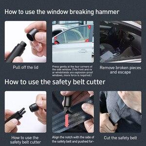 Image 5 - Baseus мини автомобиля оконного стекла выключатель резак ремня безопасности Безопасность молоток для спасения жизни, аварийный молоток с комплектов режущих ножей, аксессуары для интерьера