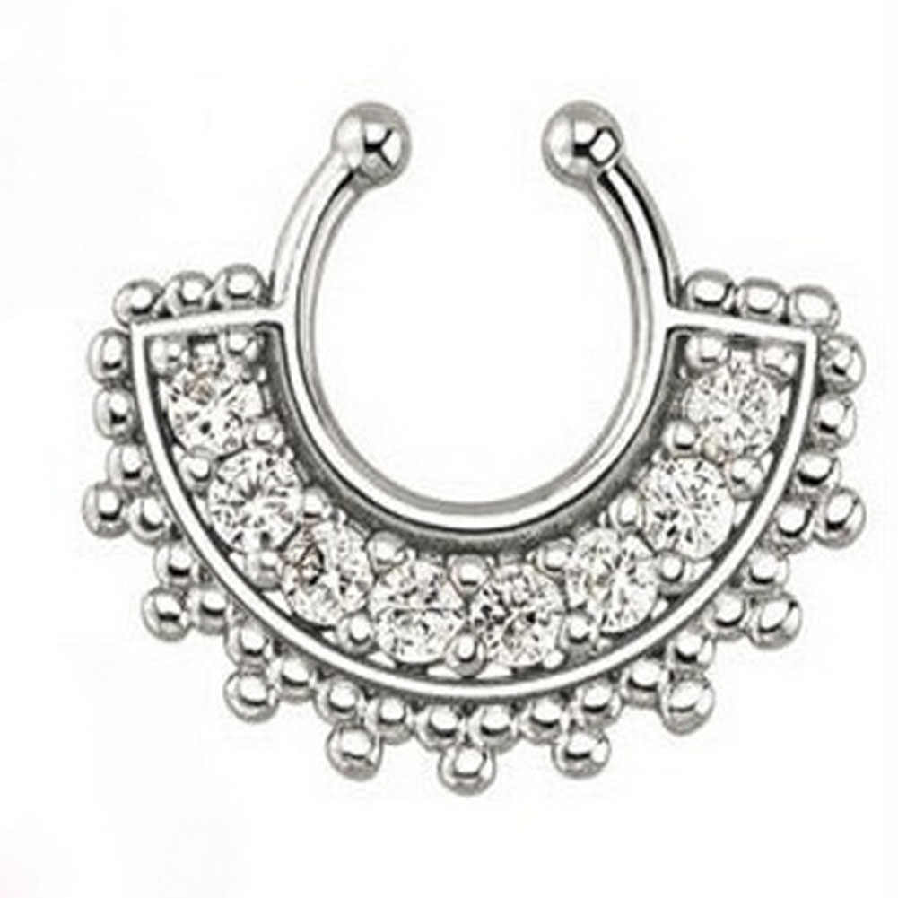 1PCแฟชั่นคริสตัลปลอมแหวนจมูกรอบรูปร่างปลอมSeptum Piercing Hoopสำหรับผู้หญิงFauxคลิปClickerไทเทเนียมเครื่องประดับ