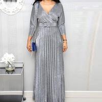 Fall Winter Women Colorful Bronzing Long Dress V Neck With Belt Pleated Maxi Dress Solid Elegant Dinner Party Dress