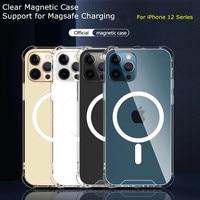 Magsafe-funda magnética transparente para móvil, carcasa trasera de lujo para iPhone 11, 12 Pro, Max, 12 Mini, cargador inalámbrico Magsafe