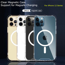 Clear Magsafe Magnetic Case For iPhone 11 12 Pro Max 12 Mini Support For Magsafe Wireless Charger Luxury Transparent Back Cover
