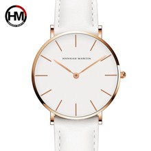 Dropshipping Japan Quartz Simple Women Fashion Watch White Leather Strap Ladies Wrist Watches Brand Waterproof Wristwatch 36mm(China)