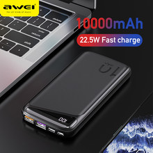AWEI 22.5W Power bank PD&QC 3.0 Portable PowerBank Fast Charging LED Digital 10000mAh 2 USB Port 1 Micro Port 1 Type Port P103k