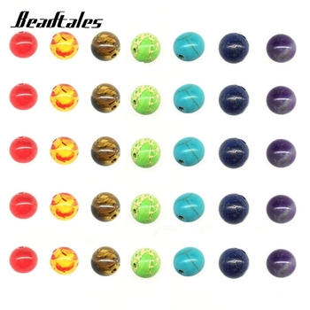 Beadtales 1set 8mm Natural Stone Beads Round Tiger Eye Spacer Bead For Women Diy 7 Chakra Bracelet Jewelry Making Accessories image