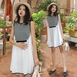 Loose-Dress Korean-Style Summer Fashion Joint New-Products Large-Size Mid-Length Stripes