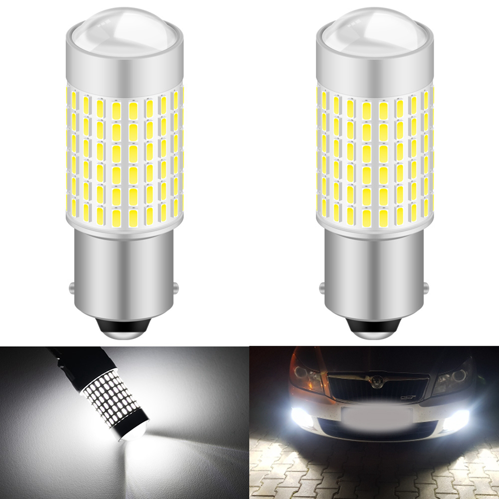 2pcs White Canbus No Error 1156 ba15s P21W <font><b>LED</b></font> Bulb for <font><b>Skoda</b></font> Superb <font><b>Octavia</b></font> 2 FL <font><b>2010</b></font> 2011 2012 2013 Daytime Running Lights DRL image
