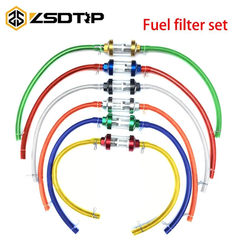 ZSDTRP цвет 8 мм мотоциклетный внутренний топливный фильтр бензиновые фильтры + 1 м бензиновый топливный шланг + 4 зажима мото скутер Байк