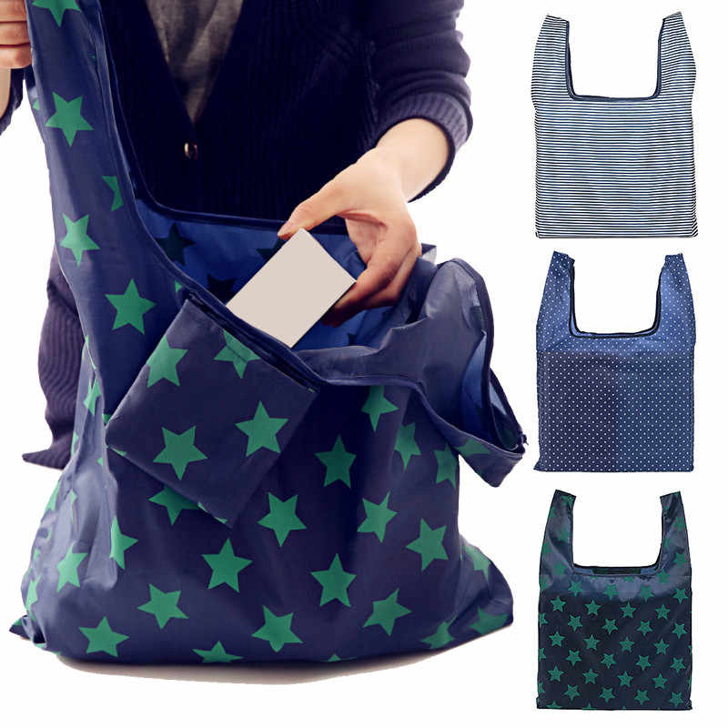 1x Kitchen Waterproof Foldable Reusable Shopping Market bags Environmentally Friendly Oxford Cloth Home organization and Storage