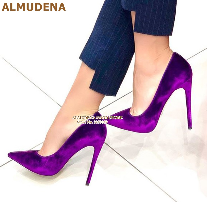 ALMUDENA Luxury Velvet Pointed Toe Pumps Stiletto Heels Shallow Dress Shoes 12 10 8cm Heel Wine Red Purple Wedding Shoes Size45