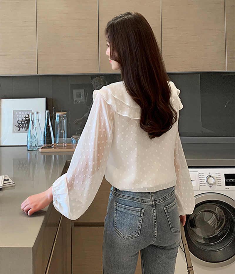 Autumn Korean Fashion Chiffon Women Blouses White Women Shirts Plus Size XXL Womens Tops and Blouses Femininas Elegante