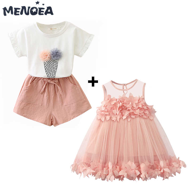 Menoea для девушек платья Милая Аппликация платье принцессы Милые Свадебная вечеринка Бальные платья + Повседневное короткий рукав льда одежда мороженое