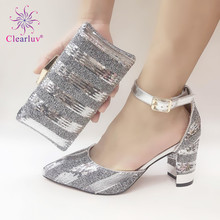 Italian-Shoes Shoe-And-Bag-Sets Matching-Bag Crystal Shining Party Sliver with Lady Italy