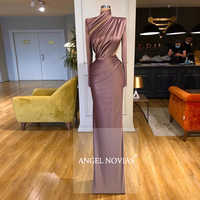 Vestido De noche árabe De satén marrón De cuello alto De manga larga 2020 kaftan Dubai Robe De Soiree 2020 Long Vestido De fiesta De graduación