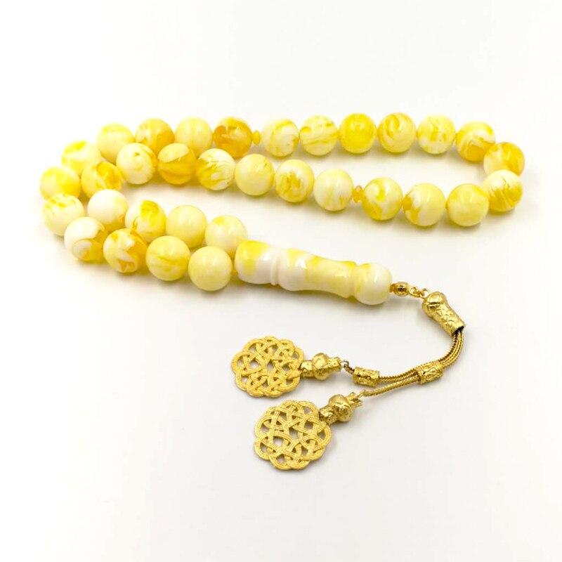 muslim prayer Masbahah makkah mosque islamic islamic bead 33 Tasbih Resin Prayer Beads Salat muslim beads yellow A7 allah