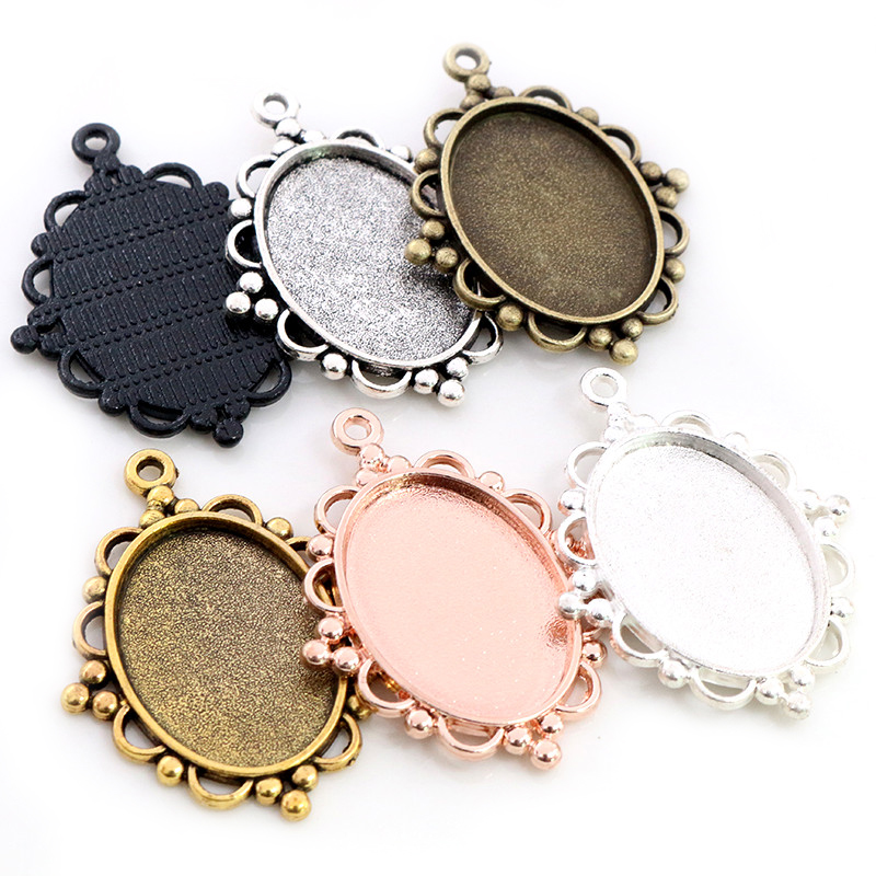 10pcs 18x25mm Inner Size 6 Colors Vintage Style Cameo Cabochon Base Setting Charms Pendant Necklace Findings