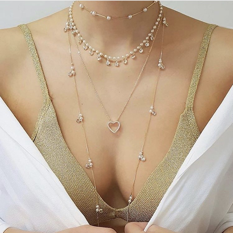 Imitation Pearls Choker Necklace for Women Hollow Heart Pendant Necklace Long Layered Gold Color 2020 Fashion Jewelry Simple New