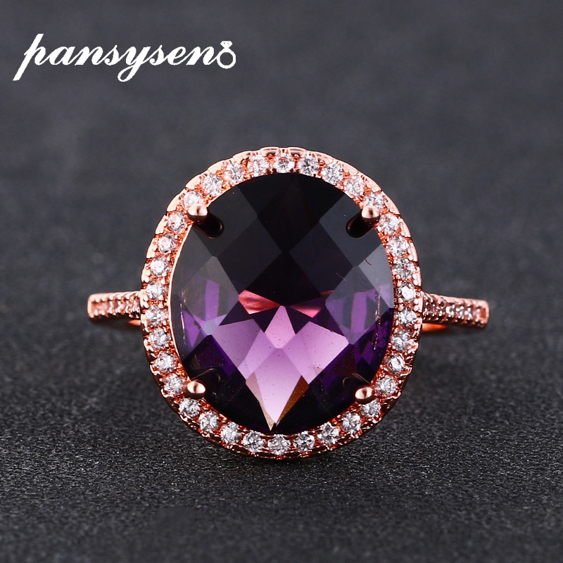 PANSYSEN New Trend Oval Cut Silver 925 Jewelry Amethyst Zircon Ring Women Gemstone Wedding Engagement Fine Jewelry Rings Hotsale