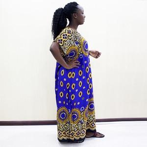 Image 4 - Dashikiage Da Báo 100% Cotton Châu Phi Dashiki Xanh Tay Ngắn Xanh Dương Váy Đầm Cho Nữ
